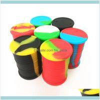 Housekeeping Organization Home Garden Storage Bottles & 11Ml Jar Food Grade Sile Oil Barrel Container Jars Dab Wax Rubber Drum Shape Sil Dry