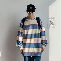 T-shirts Autumn Men's Long Sleeve Striped T-shirt Student Korean Loose Round Neck Bottomed Shirt Original Suzuki Style Literature and Art E