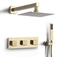 샤워 수도꼭지 세트 완성 3 손잡이 통제 된 8 인치 Rainfall 샤워 헤드, 럭셔리 샤워 필러 믹서 밸브 포함 B x0705