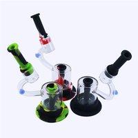 Tubes d'eau Bong en silicone LED DAB Hookah Creative Microscope Creative Microscope Siliconebongs avec boîte-cadeau