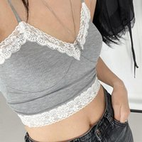Kvinnors Tankar Camis Goth Toppar Lace Trim Patchwork Tank Snowflake Gaze Små Camisole Kvinna Sexig Kort Beskära Sommar Halter Top Alt Cloth