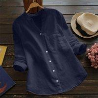 Frauen Blusen Hemden Casual Leinen Kurzarm Bluse Hemd Frauen 2021 Reine Farbe Lose Baumwolle Lange Sommer Streetwear Tops Blusa