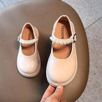 Flat Shoes Baby Girl Leather Kids Mary Janes Princess Pearls Sweet Soft Elegant Dress For Wedding Party Flats Autumn