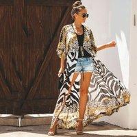 Bikini Cover-ups Bohemian Printed Long Kimono Cardigan Plus Size Chiffon Tunic Women Beach Wear Swim Suit Cover Up Women's Swimwear