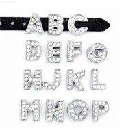 """Slide pode rhinestones 20pcs / lote letras a-m 8mm escolher cada letra completa """"apto para bracelete de pulseira de encanto DIY"""