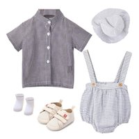 Clothing Sets Cotton Born Baby Boys Clothes Plaid Dress With Cap Shoes 5 PCS Outfits 6 -18M Children Holiday Party Costume Short