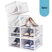 AMZDeal-Kleidung Organisation, 6 Stück Stapelbare Schuhaufbewahrungsboxen für US-Größe 12- Klar, Kunststoff, Schränke vorderen Öffnungen, Platzsparer