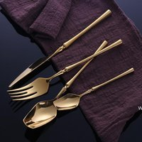 Stainless Steel Tableware Gold Cutlery Set Knife Spoon and F...