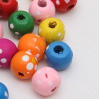 150 adet 10 mm renk noktaları ve çiçekler ve ahşap boncuk boşluk ahşap boncuk DIY takı çocuk oyuncakları yapma bilezik kolye 448 T2