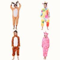 Kigurumi Pijamas para niños para niños Niñas Unicornio Pijamas Flannel Niños Panda Pijamas Traje Animal ropa de dormir Invierno Cat Onesies 1181 x2