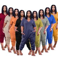 Women Tracksuits Spring And Summer Solid Color Fashion Casual Street Wear Jumpsuit Shorts Suit Plus Size Designer Womens Clothing XS-3X
