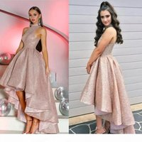 Glitter Rose Gold Prom Dresses High Neck Sequined Hi Low Cocktail Party Dresses Evening Wear Holiday Sleeveless Arabic Bling Graduation Gown