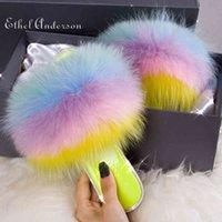 Ethel Anderson 2021 Fluffy Furry Raccon Fur Slippers Flip Flops Beach Fur Slides Crystal Bling Women Plush Designer Slippers Q0508