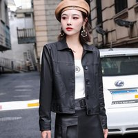 Women's Leather & Faux Small Autumn Fashion Clothing Korean Version Of Loose-Fit Washed PU Jacket
