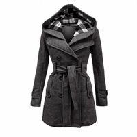 Sonbahar Kış Yeni Ekose Kapüşonlu Kemer Kruvaze Uzun Ceket Büyük Boy kadın İmitasyon Yün Ceket Kadın Palto XXL, XXXL S9GB #