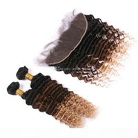 Two Tone Deep Wave Hair Weft 3pcs With Lace Frontal Three Tone 1B 4 27 Hair Bundles With Ear To Ear Lace Frontal