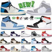 Air Jordan Retro 1 Taille 36-47 avec boîte New White Sail X Bred Black Cat 4 4s Chaussures de basket Jumpman 1 1s Dark Moka Lucky Green Twist Panda Baskets pour hommes
