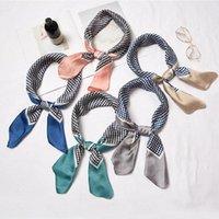 Scarves 70cm Women Multifunction Polyester Silk Scarf Elegant Dots Printed Satin Small Square Wraps Shawls Plaids Headbands