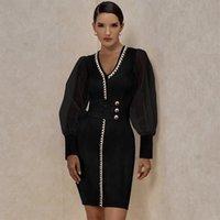 Günlük Elbiseler Ocstrade Bandaj Elbise 2021 Yıl Siyah Uzun Kollu Parti Seksi Pist Moda Süslenmiş Örgü Bodycon