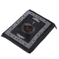 Tapete de oração islâmica portátil trançada tapete tapetes zíper bússola cobertores de bolso tapetes machos adoração hhc7088