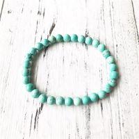 Charm Bracelets 6mm Natural Turquoises Bracelet Simple Design Green Round Beads Yoga Mala Gift For Men Women Wrist Jewelry