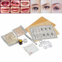 Wholesale- High Quality Microblading Eyebrow Lip Tattoo Pigment Manual Pen Practice Skin Needles Kit Free 1