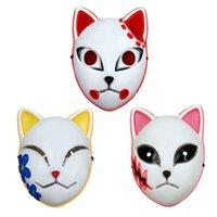 Demon Slayer Fox Mask Halloween Party Japanese Anime Cos Costume Led Masks Festival Favor Props Phjk2108