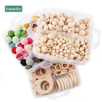 Bopoobo 1set Baby Rattle DIY Jewelry Set Crochet Beads Baby Blending Natural Wooden Beads Silicone Round Geometry Wooden Teether 210402