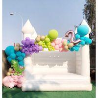 13x13ft-4x4m Outdoor-aufblasbarer Hochzeitshocher, weißes Bounce House Geburtstags-Party-Jumper-Bouncy-Schloss