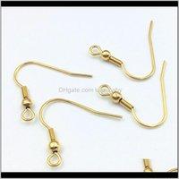 Clasps 200 PCSLOT Gold DIY Bijoux Constatations Chirurgical Boucle d'oreille en acier inoxydable SIER SIER SIGHTORE Nickel Boucles d'oreilles Crochet Grossiste GDPFX Q3TJG