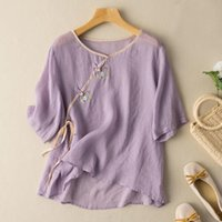 Women's Blouses & Shirts 2021 Arrival Summer Women Floral Embroidery V-neck Blouse All-matched Short Sleeve Cotton Linen Casual W514