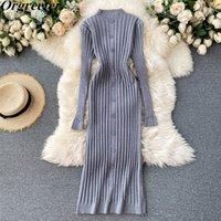 Örme Elbise Kadınlar Vintage Kısa Katı Tek Göğüslü Tüm Maç Kazak Uzun Kollu Streç Ince Bodycon MIDI 210525