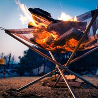 Porte-feu portable en plein air pliant barbecue en acier inoxydable cuisinière en acier inoxydable cuisinière super légère chauffage chauffage chauffage bois camping