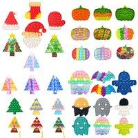 Fidget Toys Рождество Хэллоуин тыква призрак дерева чулок варежки формы толчок пузырьки галстуки краситель рождество Санты шляпа шапки пальцев