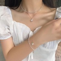 Fashion Women Necklace Choker Pearl Double Layer Pendant Statement Ladies Collares Gold Jewelry Birthday Gift Wholesale Necklaces