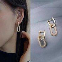 1 Pair fashion gold geometric Rectangle hoop charm earrings top quality mirco cz crystal earings for women luxury brand jewellery