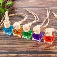 Car perfume pendant ornament air freshener for essential oils diffuser Square fragrance empty glass bottle decorate 7-8ml