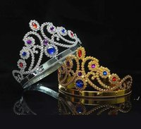 4 styles King and Queen Cosplay hairbands with crystals gold silver kids Christmas Cosplay Crown Hair Accessory GWB11144