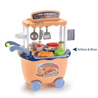 Mini Kitchen Cart Trolley With Food Set Toys Pretend Play House Simulation Vegetables Utensils Baby Educational Funny Gift