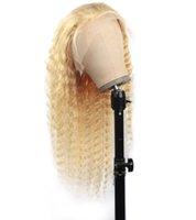 Beliebig brasilianische Körperwelle 30 zoll 13 * 1 transparente Spitzefront-Perücke blonde Farbe 613 Menschenhaarperücken peruanian gerade tief