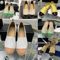 Старший досуг рыбацкой обуви роскошный дизайнер мода кожаная женская юбка девушка EspadrillesRubber плоский днищий летний размер EUR34-42 с коробкой