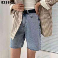 Ezsskj женские джинсы 2021 летние новые шорты высокой талии половинные брюки черные джинсовые пять точек