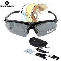 Rockbros 야외 스포츠 안경 5 렌즈 자전거 선글라스 사이클링 안경 편광 안경 자전거 타기 고글 액세서리