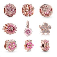 Se encaixa pandora 925 pulseira de prata esterlina pulseira rosa esmalte magnólia deisy pêssego flor dangle beads encantos para a cadeia de encanto de cobra europeia moda diy jóia