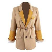 Frauenanzüge Blazers Womengaga Blazer Einreiher Patchwork Womens Anzug Mantel Langarm Gürtel Split Slim Weibliche Jacke Frühling 2021 xx