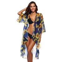 Womail التستر الصيف المرأة عباد الشمس الشيفون الاستحمام شاطئ بيكيني ملابس السباحة سموك W30417 سارونغ