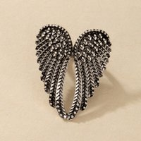 Moda ángel alas anillo punk biker joyería antiguo color oro vintage rhinestone anillos para hombres mujeres