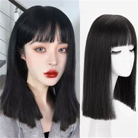 Mengfei WIG Women Long Long Hair Red Red Straight Air Bangs Natural Lisa Lisa Corta Full Hourgear