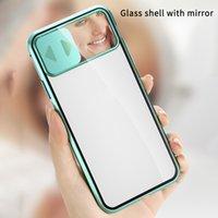 슬라이드 카메라 렌즈 마그네틱 핸드폰 케이스 iPhone 11 Pro Max 12 미니 XR X XS Max 8 7 플러스 금속 보호 커버 미러