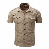 2020 2020 Camicia da uomo da uomo di alta qualità uomo camicia casual camicia casual solido manica corta camicie lavori con lavare standard US Dimensione 100% cotone h4pp #